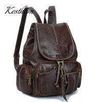 рюкзак из коричневой кожи pu оптовых-Kesthton  women backpacks for teenage girls vintage brown pu leather school bagpacks for female soft ladies shoulder
