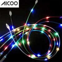 schlagkabel schlagen großhandel-AICOO Sprachsteuerung Beat Beleuchtetes Datenkabel Blinklicht 1m 2.0A 2 in 1 Ladekabel Leitung für i7 Android Typ-c OPP