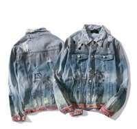 nova mulher hip hop jeans venda por atacado-Nova marca mens jean casaco designer buraco jaqueta rua hip hop moda tops lazer selvagem homens mulheres jaqueta clássico clássico casacos pintados à mão