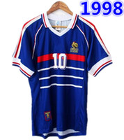 Wholesale world cup soccer jerseys france resale online - 1998 FRANCE world cup champions RETRO VINTAGE ZIDANE HENRY MAILLOT DE FOOT Thailand Quality soccer jerseys uniforms Football Jerseys shirt
