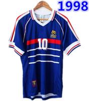 camiseta copa mundial de fútbol francia al por mayor-1998 FRANCIA campeones de la copa del mundo RETRO VINTAGE ZIDANE HENRY MAILLOT DE FOOT Tailandia camisetas de fútbol de calidad uniformes camiseta de camisetas de fútbol
