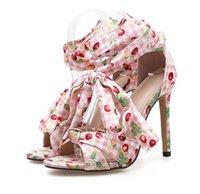 zapatos rosados del abrigo del tobillo al por mayor-2019 Nuevo calicó azul rosado impreso en el tobillo zapatos de tacón alto sandalias de verano zapatos de mujer talla 35 a 40