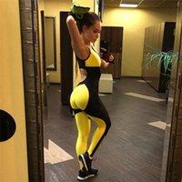 combinaison jaune pour femmes achat en gros de-GXQIL jaune Jumpsuit Vêtements de sport d'entraînement Gym Femme sport respirant femmes Survêtement 2019 Fitness Sports Vêtements Costume M