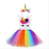 Wholesale rainbow tulle dresses for sale - Group buy Rainbow Unicorn Dress Cartoon European and American Princess Tutu Dresses for Girls Stage Performer Cosplay Costume