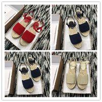 casual sandalen häkeln großhandel-Sommer Designer Frauen häkeln Plattform Espadrille Perlen Schnalle Beliebte Damen Wedge Sandals Italien Marke Komfortable beiläufige Sandalen