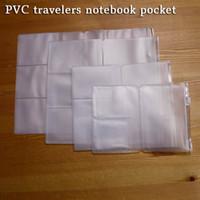 a5 lederne notizbücher großhandel-A5 PVC Leder Reisende Notebook-Tasche Praktische transparente Aufbewahrungstasche mit Reißverschluss Standard-Tagebuch-Karte und Ticket Bill Nachfüllbeutel