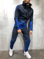 ingrosso moda beige pants outfit-Abbigliamento Uomo Primavera Primavera Hiphop Tute Designer Cardigan Felpe Pantaloni 2 pezzi Set di abbigliamento Pantalones Abiti