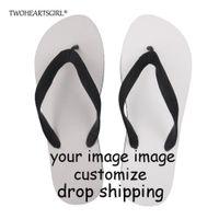 imágenes de sandalia al por mayor-Twoheartsgirl Personaliza tu imagen Logo Flipflops para hombres, chanclas de playa Cool Summer, sandalias planas masculinas antideslizantes de goma