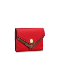 Wholesale wool double knit fabric resale online - M64419 Double Compact Wallet WOMEN REAL LEATHER LONG WALLET CHAIN WALLETS COMPACT PURSE CLUTCHES EVENING KEY CARD HOLDERS