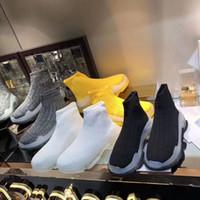 botas de estiramento para mulheres venda por atacado-Sola de cristal Triplo S Sapatilhas de Meias Das Senhoras Sapatos Casuais Botas Meias Botas de Meia-calça de Estiramento Do Vintage Slip-On Mulheres Botas de Designer de Meia Por Atacado