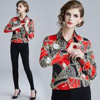 ofis bluzları yaka toptan satış-Sıcak 2019 İlkbahar Yaz Güz Pist Çiçek Barok Baskı Yaka Düğme Ön Uzun Kollu Kadın Rahat Ofis OL Üst Gömlek Bluz