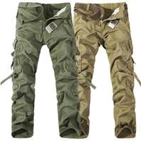 Wholesale yellow camo pants resale online – High Quality Men s Cargo Pants Casual Loose Multi Pocket Military Pants Long Trousers for Men Camo Joggers Plus Size