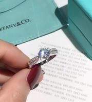 ingrosso grande insieme 925-Con scatola in argento sterling 925 gioielli in argento massiccio Anello Set Sona CZ Big Diamond Anelli di fidanzamento per le donne