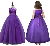 niños vestidos de bola púrpura al por mayor-En Stock blancos púrpuras de la princesa del cordón de las muchachas de flor vestidos 2019 vestidos Apliques niños la fiesta de cumpleaños de la bola del vestido de los vestidos de los niños baratos MC2080
