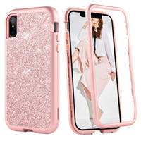 Wholesale bling rose case online - For Iphone Xs Max Case Luxury Women Bling Glitter Cover Heavy Duty Hybrid Full Body Protective Cover Defender Case For iPhone XR XS Max