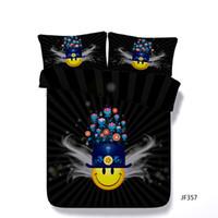 edredons de flor amarela azul venda por atacado-Dos Desenhos Animados 3 Peça Conjunto De Cama Com 2 Travesseiros Shams Para Crianças Meninos Adolescentes Meninas Amarelo Rosto Capa de Edredão Planta Flor Preto Consolador Capa Azul