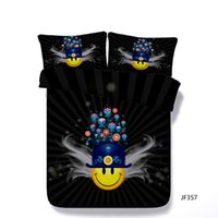 edredones de flores amarillas azules al por mayor-Juego de cama de 3 piezas de dibujos animados con 2 fundas de almohada para niños Adolescentes Niños Niñas Cara amarilla Funda nórdica Planta Flor Negro Cubierta de edredón Azul