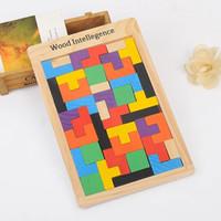 ingrosso costruire la casa di carta-Potere tonificante in legno Tetris puzzle a colori educazione precoce puzzle di costruzione giocattoli per bambini sviluppo giocattoli per bambini