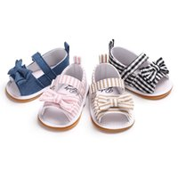 детские сандалии оптовых-Infant Kids Baby Girls Sandals Summer Newborn Crib Non-Slip Shoes Sandals Shoes Size Toddler Princess Bow Stripe