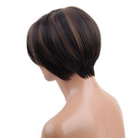 косплей парики женщин оптовых-Factory price 1pc Women Fashion Lady Brown Female Short  Fiber Hair 18