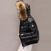 parlak kış toptan satış-2018 Kış Kadın Ceket Yeni Parlak Ceket Pamuk kadın Kısa Aşağı Pamuk Yastıklı Gerçek Kürk Yaka Ceket Öğrenci ceket