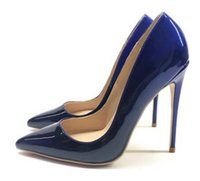 ingrosso grandi tacchi alti-2019 8cm 12cm 10cm Big code 45 Blu nero Cambiamento graduale Scarpe con tacco a suola rosse da donna Scarpe singole a punta in vernice con tacco fine