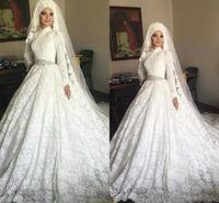 vestidos de casamento muçulmanos modestos frisados venda por atacado-Modest árabe muçulmano vestidos de noiva de renda completa a linha Hign pescoço mangas compridas frisado Belt Formal Igreja vestidos de noiva com Hajib