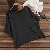 beyaz yarasa kolları bluz toptan satış-Kadınlar Bluz Bat Kısa Kollu Gevşek Yaz blusa Feminina Casual blusas Çalışma Beyaz Gömlek% 100 Pamuk Chemise Femme Artı boyutu