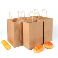 ingrosso borse da regalo riciclato-Sacchetto regalo di tote multiuso riciclato di carta kraft per borse di festival di maniglie di festa con maniglie per regali, pranzo di matrimoni di partito