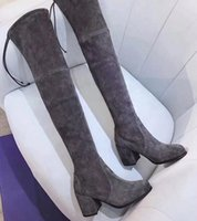 mais de joelho botas de couro venda venda por atacado-Venda quente-alta qualidade real de couro sobre o joelho botas de fundo grosso elástico alto para ajudar sapatos baixos SW marrom preto lace-up