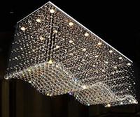 accesorios de iluminación del vestíbulo del hotel al por mayor-Contemporáneo Rectángulo Cristal Araña Iluminación Raindrop Flush Techo Accesorio de luz para comedor Lobby Isla de la cocina