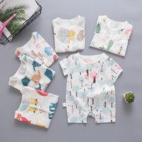 Wholesale babys jumpsuits resale online - Babys short sleeve Jumpsuit cotton babys summer dress pyjamas months newborn clothes in summer