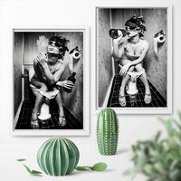 meninas sexy pintando estampas venda por atacado-Moda WC sexy da mulher lona menina Bar estampas modernas de fumo e bebendo no banheiro pintura retrato Poster