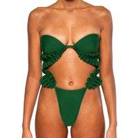 un maillot de bain vert épaule achat en gros de-Maillot de bain femme sexy Bikini une épaule à volants Set vert Push Up Bandage Maillots de bain Beachwear Maillot de bain 2019 # YL1