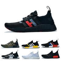 spor ayakkabıları kumaş toptan satış-Adidas NMD R1 ÜST quaity R1 elastik kumaş erkek kadın Koşu ayakkabı Üçlü s siyah Zeytin yeşil Sarı Beyaz Klasik renkler eğitmenler spor sneakers 36-47