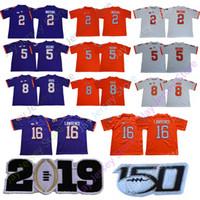 jersey camiseta venda por atacado-2019 Clemson Tigers College Jersey Trevor Lawrence Tee Higgins Justyn Ross Sammy Watkins Deshaun Watson Travis Etienne JR.