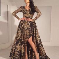 manga longa preto vestido de sereia venda por atacado-Luxo Black Gold Glitter sereia mangas compridas Vestido 2019 Arábia Saudita Dubai marroquina removível Train muçulmana Prom Dress