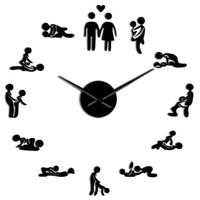 decoração de parede antiga rústica venda por atacado-Posição do sexo Mudo Relógio de Parede Único Jogo 3D Diy Assista Quarto Adulto Decoração Acrílico Big Clock