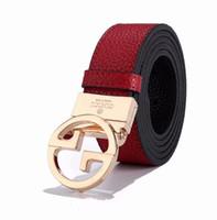 conjuntos de castidade venda por atacado-Top de luxo novo conjunto de negócios de moda de castidade popular cinto de couro duplo letras de ouro e prata fivela frete grátis