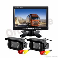 moniteur de caméra de camion achat en gros de-2x 18 LED IR Caméra Inverse 12V / 24V + 7