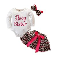 Wholesale baby clothing leopard print suit resale online - INS leopard print baby girls suits newborn outfits baby girl clothes romper bow Tutu Skirts headband toddler girl clothes A8772