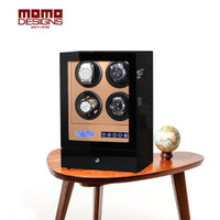 luxus lcd uhren groihandel-Hölzerner Uhrenbeweger 4 automatische Uhrenbox mit Fernbedienung und LCD-Touchscreen LUXURY hölzerne Uhrenbox Transparente Abdeckung-s204