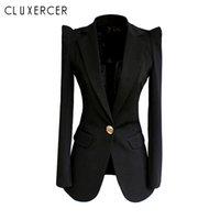 ingrosso pulsante di corea-2019 New Spring Autumn blazer nero Donna Corea Single Button manica lunga Fashion Office Lady scrollata di spalle Blazer Feminino