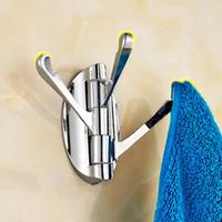 ingrosso deposito del cappello-Bagno Cucina regolabile 3 aggancia la rotazione di 180 gradi in acciaio inox tovagliolo di bagno Coat Hanger Hat bagagli Ganci