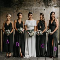 Wholesale mix color wedding bridesmaid dress resale online - Western Country Forest Black Bridesmaid Dresses Mixed Styles A Line Chiffon Long Wedding Guest Maid of Honor Gowns Plus Size