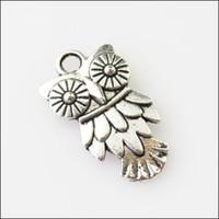 Wholesale tibetan silver charm owl for sale - Group buy Fashion Tibetan Silver Tone Animal Owl Birds Charms Pendants x20mm