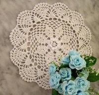 Wholesale crochet cup placemat resale online - Modern Cotton Crochet Doily Round Width cm Placemat Flower Coaster Kitchen Mug Pads Cup Mat Table Cover Decoration Accessories