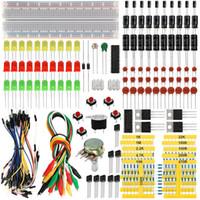 componente eletrônico venda por atacado-KEYES Base de Componente Eletrônico Kit Fun Kit com Resistor de Cabo Breadboard, Capacitor, LED, Potenciômetro para Arduino