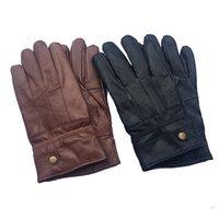 erkeklerin marka koyun derisi orijinal toptan satış-Erkekler Gerçek Deri Eldiven Gerçek Sheepskin Kürk eldivenler Siyah Deri Düğme Moda Marka Kış Sıcak Eldivenler Yeni N39