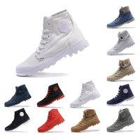botas de tornozelo branco homens venda por atacado-2019 Palladium New Chegou Ankle Boots Shoes For Men Mulheres Triplo Preto Branco Cinza Red Denim Sneakers Moda Canvas Tamanho Shoe Casual 35-45